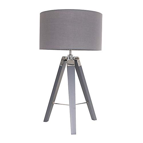 Modern Grey & Chrome Tripod Table Lamp with a Dark Grey Drum Shade