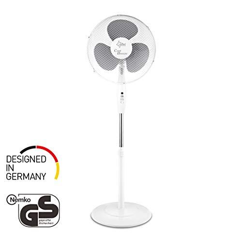 Ventilator Leise | Stand Standventilator CoolBreeze 4000 | Leise 40 cm Durchmesser, 50 Watt | Fan Windmaschine Weiss | für Bett, Schlafzimmer, Büro, Wohnung, Terrasse | von SUNTEC