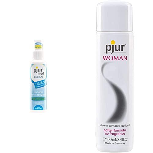 pjur med CLEAN - Hygienespray zur schonenden Reinigung der Haut & Intimbereich - 1er Pack & WOMAN - Gleitgel für Frauen auf Silikonbasis - für prickelnden Sex und längeren Spaß - 1er Pack (1 x 100ml)