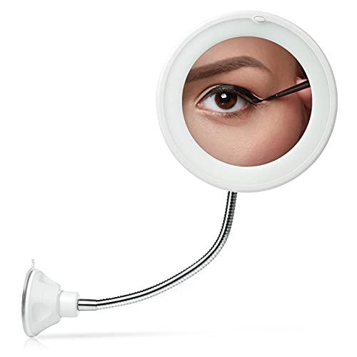 Comius Sharp 10-Fach LED-beleuchteter Make-up-Spiegel Schwanenhals 360-Grad-Drehung mit starkem Saugnapf Batteriebetrieb