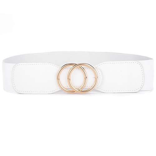 Beltox Women's Elastic Stretch Wide Waist Belts w Double Rings Gold/Silver Buckle (White w Gold Buckle, M-XL(33-41 inch stretch range))