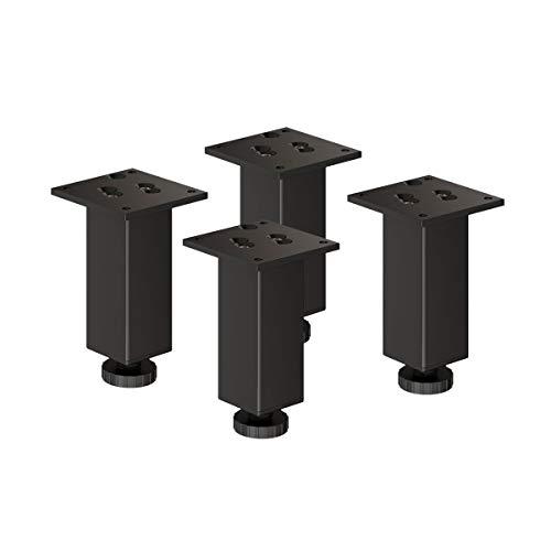 sossai Exklusiv - Aluminium Möbelfüße   E4MF-H   4er Set   höhenverstellbar   Höhe: 200mm (+20mm)   Farbe: Schwarz