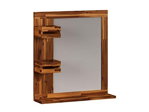 Woodkings® Spiegel 60x65 cm Surabaya Holz Akazie rustikal Badspiegel Wandspiegel mit Ablage Badmöbel Badezimmermöbel Massivholz