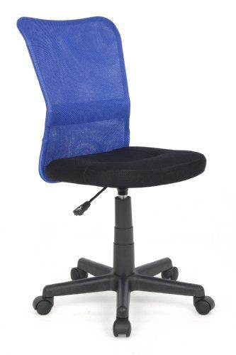 SixBros. Bürostuhl,Schreibtischstuhl, Drehstuhl für's Büro oder Kinderzimmer, stufenlos höhenverstellbar, Schreibtischstuhl für Kinder aus Stoff, blau/schwarz, H-298F/1327