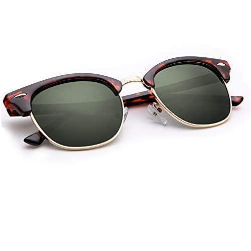 * Best Value * Classic Retro 80s Style Clubmaster Semi-framed Sunglasses for Men or Women