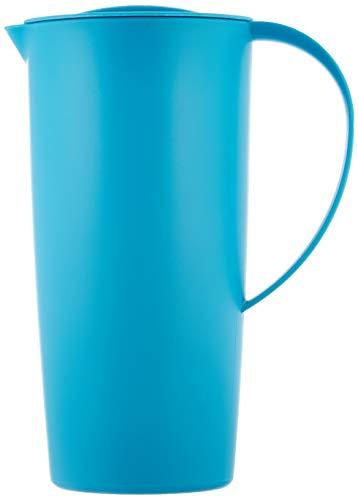 Rotho Caruba Krug mit Deckel 1.2 l, Kunststoff (BPA-frei), Blau (aqua blau), 1,2 Liter (16 x 10,5 x 22 cm)