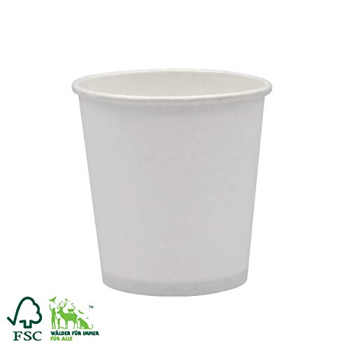 Pack&Cup Bio Kaffeebecher Pappbecher Coffee to Go Einwegbecher Plain White 100 ml (4 OZ) 1000 Stück