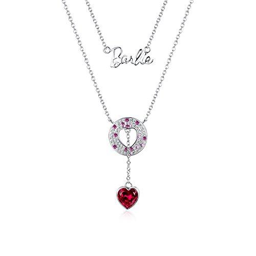 Barbie collana da ragazza e donna,collana con doppia catena, collana con inciso Barbiecollana moda, collana di squisita fattura #BSXL036 (Argento 925+zircone Swarovski+rubino)