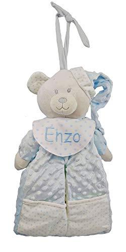 Pañalera personalizada con el nombre del bebé bordado a máquina. Azul.