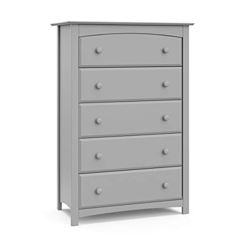 Storkcraft Kenton 5 Drawer Universal Dresser | Wood and Composite Construction, Ideal for Nursery, Toddlers or Kids Room | Pebble Gray