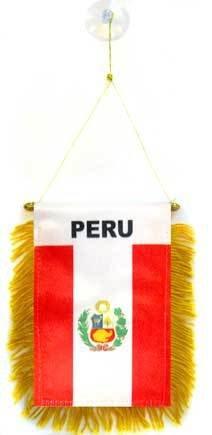 AZ FLAG Wimpel Peru 15x10cm - Peruanische Mini Flagge 10 x 15 cm - Auto Pennant spezielle Auto