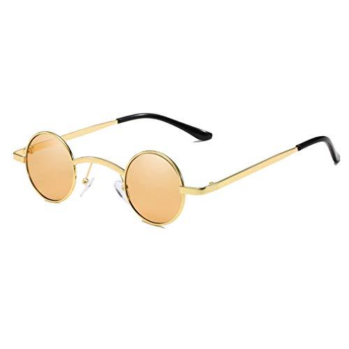 Yying Hip Hop Retro Gafas de Sol Redondas Pequeñas Mujeres Hombres Hot Vintage Steampunk Gafas de Sol Espejo Gafas