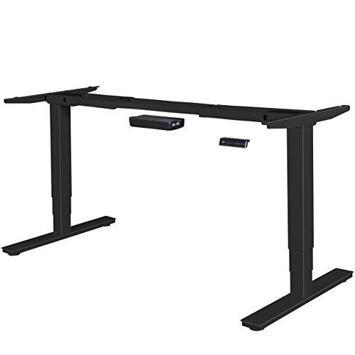 FineBuy elektrisch höhenverstellbares Tischgestell schwarz Gestell mit Memory Funktion | Schreibtischgestell stufenlos höhenverstellbar von 63-128 cm