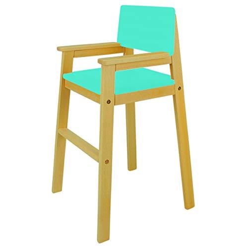 Trona infantil de madera maciza de haya, color nogal y turquesa, trona para mesa de comedor, trona para niños, estable y fácil de limpiar, muchos colores posibles.