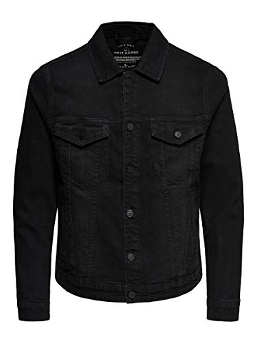 ONLY & SONS Herren Jeansjacke onsCOIN JACKET BLACK PK 0453 NOOS Schwarz (Black Denim), Medium
