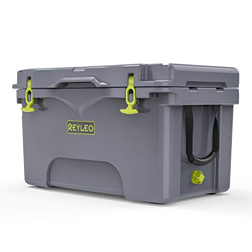 REYLEO Ice Chest, Portable Rotomolded Arctic Cooler Keeps Ice Up to 3 Days, Bear-Resistant 52-Quart Cooler (Built-in Bottle Opener, Cup Holder, Fish Ruler) for Camping, BBQs, Tailgating, Fishing