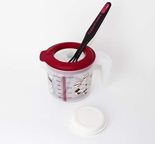 Tupperware Backen Rühr-Mix Messbecher Candy Mini 1,25L Rot + Griffbereit Schneebesen hellrot
