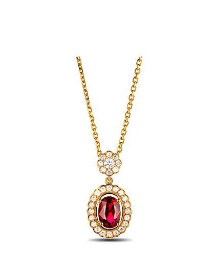 Beglie 18K/750 Gold Damen Halkskette mit Anhänger 1.06Ct Piegon'S Blood Rubin & 0.34Ct Diamant Oval Halskette Lang