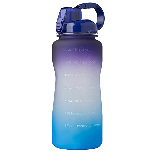 QAZW Large Half Gallon/64oz Motivational Water Bottle with Time Marker and Straw,Leakproof BPA Free Sports Water Jug with Handle to Remind You Drink More Water,Purple/Blue-2L