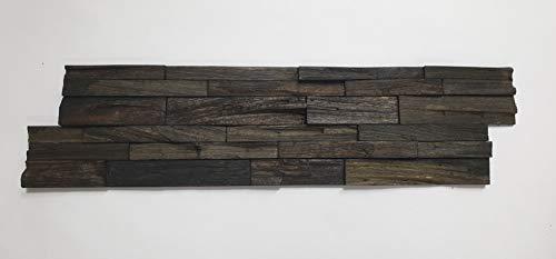 3D Holz Wandverkleidung P-2 Charcoal 1 Stück 15 x 57 cm Verblender Riemchen Echtholz Holzriemchen