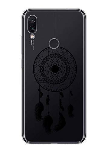 Oihxse L'étui de Est Compatible avec Xiaomi Redmi Note 7 Pro Attrape-rêves à La Mode et Magnifique Cristal Transparent Bel étui de TPU en Silicone Souple Résistant Aux Chocs et Aux Rayures