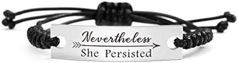 SOUSYOKYO Nevertheless She Persisted Gifts Persist ID Bracelet Feminist Female Empowerment Jewelry product image