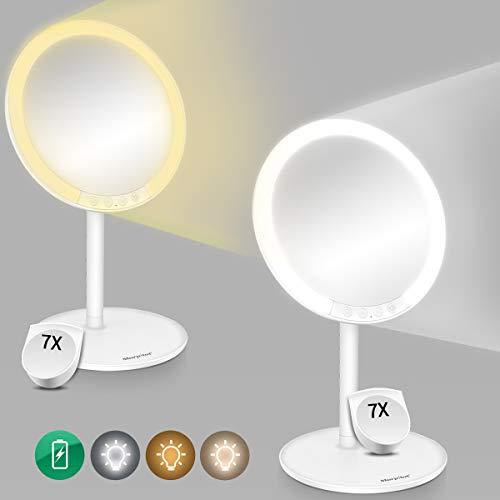 Morpilot Kosmetikspiegel mit Licht 7 Fach Vergrößsung und Akku Schminkspiegel mit 3 Beleuchtungseinstellungen Make Up Spiegel Via Touch-Screen und 120° Schwenkbar (Weiß)