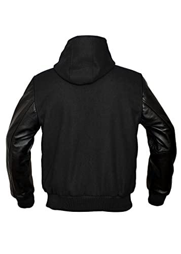 TRèS CHiC Varsity College Letterman Chaqueta, mangas negras de cuero auténtico, cuerpo de lana con capucha, (S)