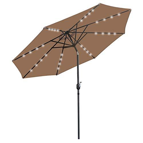 SUPER DEAL 10FT Solar 32 LED Lighted Patio Umbrella Outdoor Aluminum Market Umbrella w/Tilt System Fade-Resistant for Patio, Garden, Backyard, Deck, Poolside, and More (Tan)