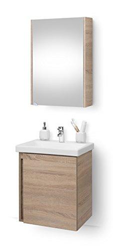 Planetmöbel Waschtischunterschrank mit Spiegelschrank 50cm Badmöbel Set für Badezimmer WC (Sonoma Eiche)