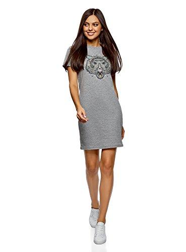 oodji Ultra Mujer Vestido de Punto de Silueta Recta, Gris, ES 42 / L