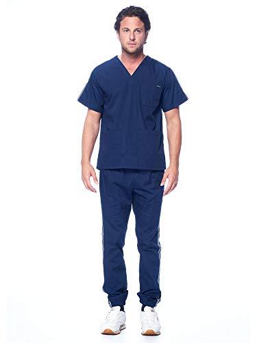 Dagacci Medical Uniform Unisex Men and Women V-Neck Athletic Trim Cotton Jogger Scrub Set, Navy, 2XL