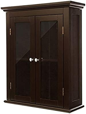 "Wood Storage Cabinet - 24"" H Wall Mounted Cabinet with Double Doors - Brown"
