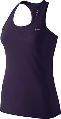 NIKE Dri-Fit Contour Camiseta de Tirantes de Running, Mujer, Morado dinastía/Plata Metalizado,...
