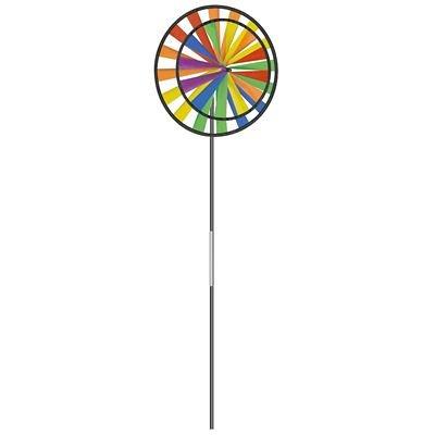 Paul Günther 1304 - Farbenfrohes Windspiel Twin Wheel, ca. 28 x 70 cm groß, als Dekoration für Garten, Terrasse und Balkon, wetterfest und lichtbeständig