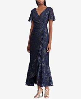 RALPH LAUREN Womens Navy Gown Jacquard Short Sleeve V Neck Tea-Length Faux Wrap Evening Dress US Size: 4