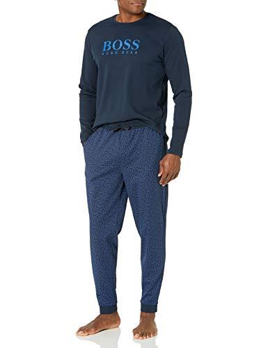 Hugo Boss Herren Relax Long 10214945 03 Pyjama Set, Nachtuhr, Small