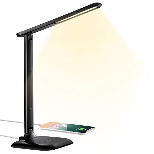 Schreibtischlampe TOPELEK 10W LED Tischlampe mit USB-Ladeanschluss, 5 Farbtemperaturen & 5 Helligkeitsstufen, Touch-Steuerung für Lesen, Arbeiten, Malen, Schlafen (Schwarz)