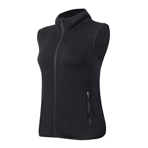 ANIVIVO Women Winter Fleece Vest with Pockets, Women Thermal Outerwear Vest Sweater, Golf Vest Sleeveless(Black,XL)