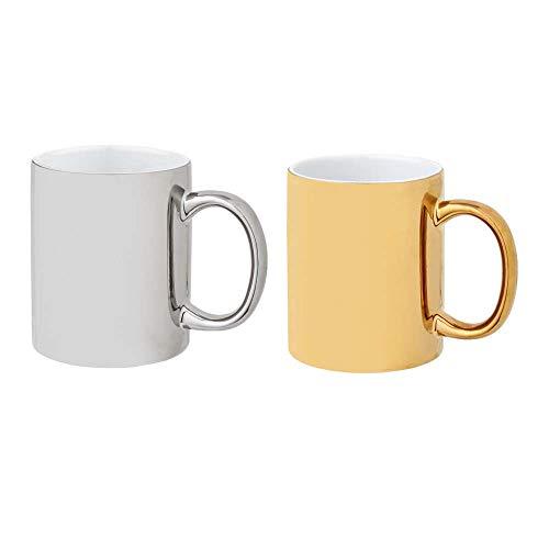 noTrash2003 2er Set Keramikbecher, versch. Farben, Kaffeetassen 350 ml glänzendes Design (Gold/Silber)