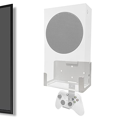 Wall Mount for Xbox Series S (Mount The Console & Controller on Wall Near or Behind TV Left/Right), Wall Shelf Bracket Kit for XSS