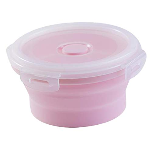 #N/A Round Food Container Storage Collapsible Camping Bowl Microwave Refrigerator - Multicolor, small 350ML pink