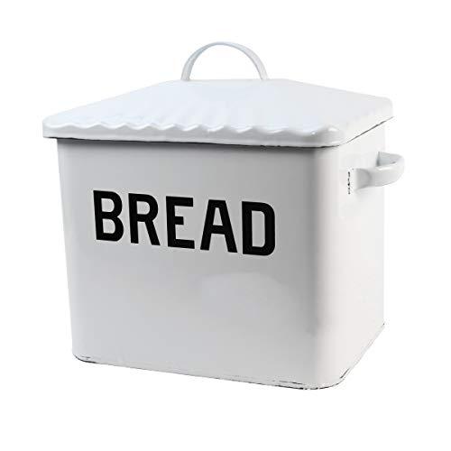 Treasure Gurus White Enamel Breadbox Vintage Bread Keeper Rustic Food Storage