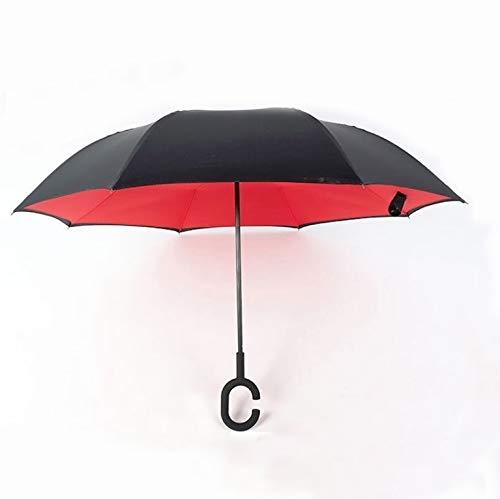 Hmg Manos Libres inversa de Doble Capa Polo Recto Umbrella, tamaño: 23 Pulgadas (Color : Red)