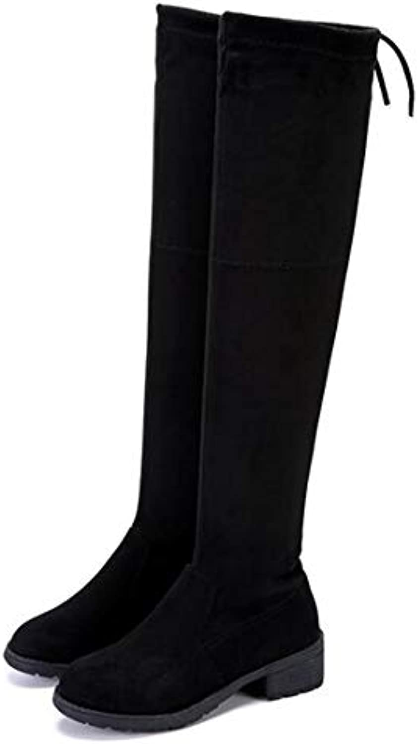 T-JULY Ladies Square Low Heel Over The Knee Boots Female Scrub Black Round Toe Motorcycle Boots
