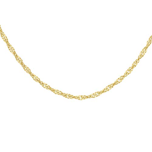 Carissima Gold Women's 9 ct Yellow Gold 0.9 mm Diamond Cut Twist Curb Chain Necklace of Length 41 cm/16 Inch