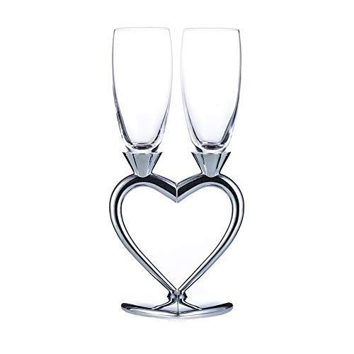 Sziqiqi Coupe De Champagne Créative, Coupe De Vin Rouge Haut De Gamme, Verre À Pied, Paire De Coupe De Cadeau De Mariage en Forme De Coeur, Argent