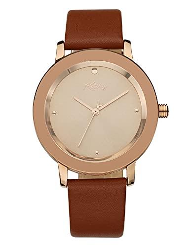 Reloj Mujer Elegante Marrón Analógico Relojes de Pulsera Mujer Resistente al Agua Minimalista Relojes de Vestir para Mujer Cuero