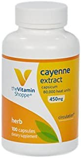 The Vitamin Shoppe Cayenne Extract 450MG (Capsicum), Promotes Cardiovascular Health Circulation Support, 80,000 Heat Units (100 Capsules)