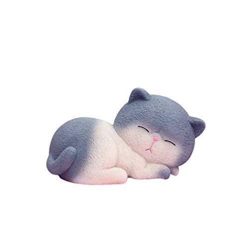 VOSAREA Harz Fette Katze Sparschwein Süße Kätzchen Spardose Desktop Dekorative Tier Sparschwein Spartopf Veranstalter Kinder Geburtstagsgeschenke-Größe M (Grau)
